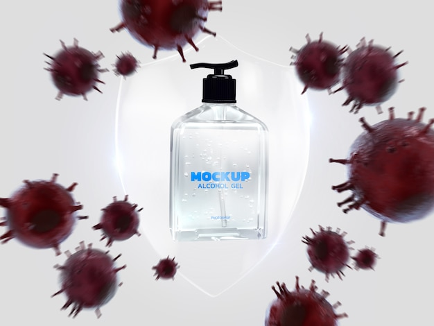 Alkohol żel korona wirusowa makieta renderowania 3d