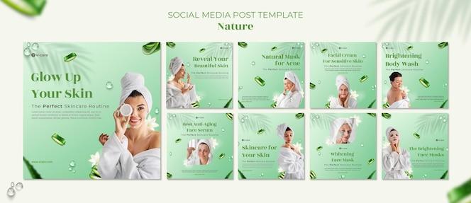 Aloe vera naturalne kosmetyki szablon postu w mediach społecznościowych