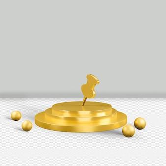 Alpin złota ikona na białym tle renderowania 3d