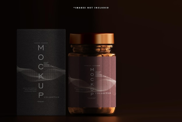 Amber glass cosmetic jar and box makieta