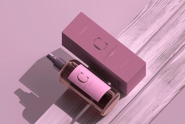 Amber glass cosmetic spray bottle and box mockup