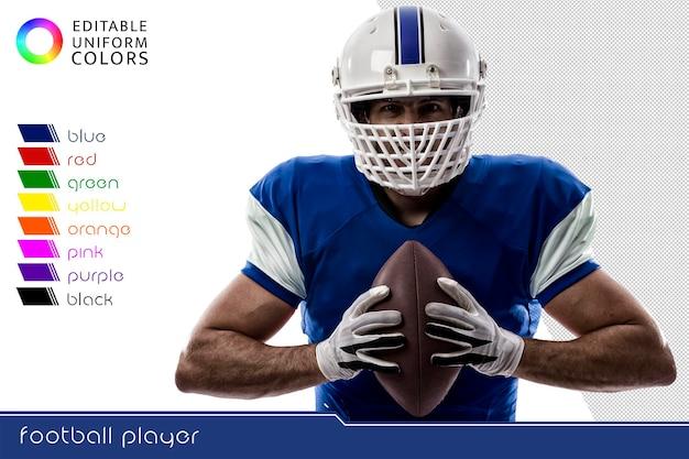 Amerykański piłkarz z wyciętym kilkoma kolorowymi mundurami