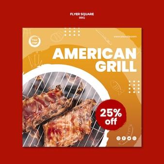 Amerykański smaczny grill szablon ulotki kwadratowe