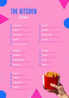 Amerykańskie menu kuchenne z frytkami