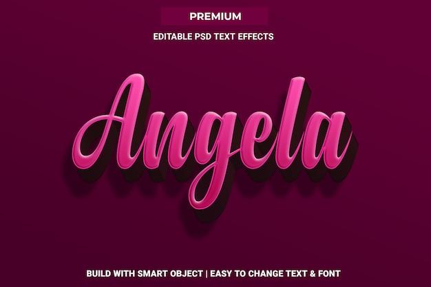Angela - 3d różowy efekt tekstowy