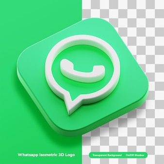 Aplikacje czatu whatsapp 3d koncepcja logo ikona izometryczny w okrągłym rogu kwadratu na białym tle