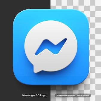Aplikacje messenger 3d logo w okrągłym kwadratowym stylu ikona trendu na białym tle