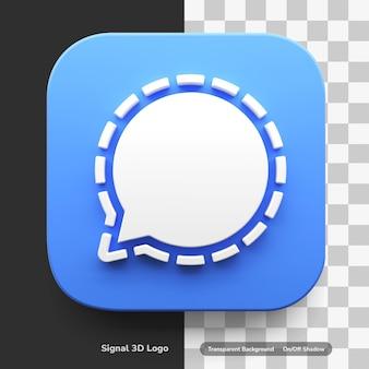 Aplikacje sygnałowe logo w stylu 3d w okrągłym rogu kwadratowych aktywów projektu na białym tle