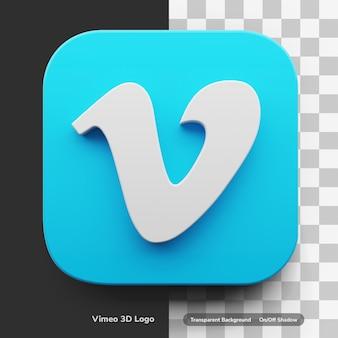 Aplikacje wideo vimeo logo 3d w okrągłym rogu kwadratowej ikony interfejsu użytkownika na białym tle