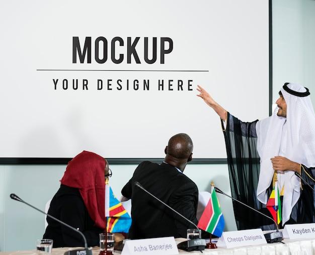 Arabian wyjaśniając partnerstwo konferencji prezentacji głośników