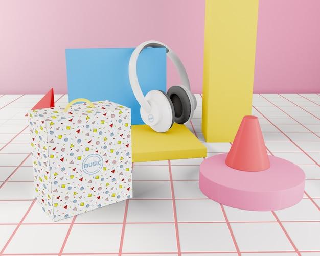 Aranżacja z kolorowym zestawem słuchawkowym