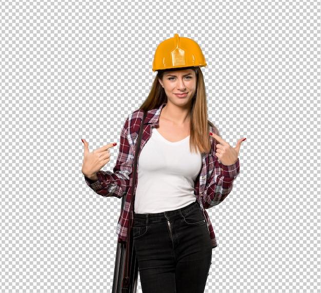 Architekt kobieta dumna i zadowolona z siebie