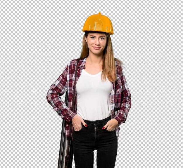 Architekt kobieta śmieje się patrząc z przodu