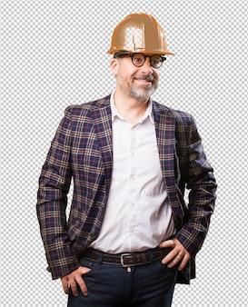 Architekta mężczyzna na bielu