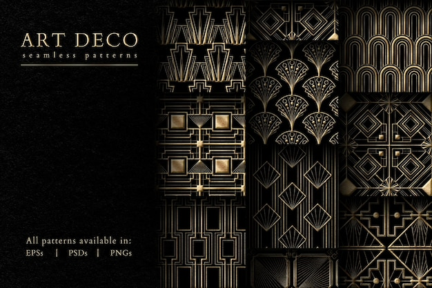 Art deco psd zestaw bez szwu wzorów na ciemnym tle