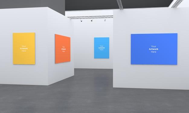Art gallery frames muckup ilustracja 3d i renderowanie 3d w różnych kierunkach