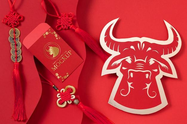 Asortyment elementów izometrycznych makiet chińskiego nowego roku