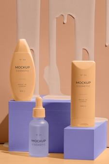 Asortyment kosmetyków modelowych z elementami topiącymi się
