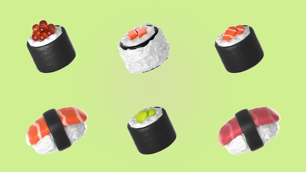 Asortyment makiet kolekcji sushi