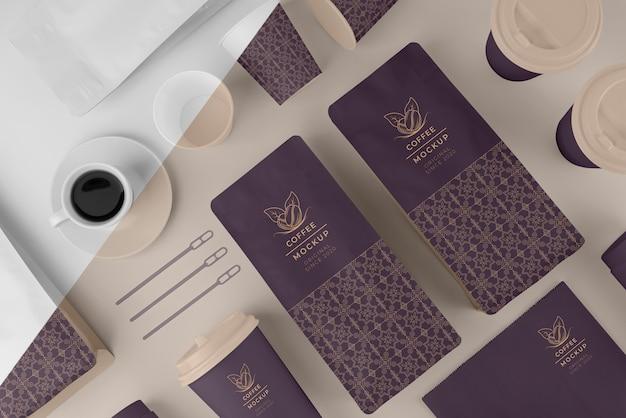 Asortyment makiety elementów kawiarni