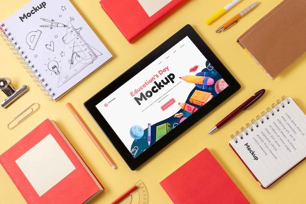 Asortyment makiety tabletów na dzień edukacji