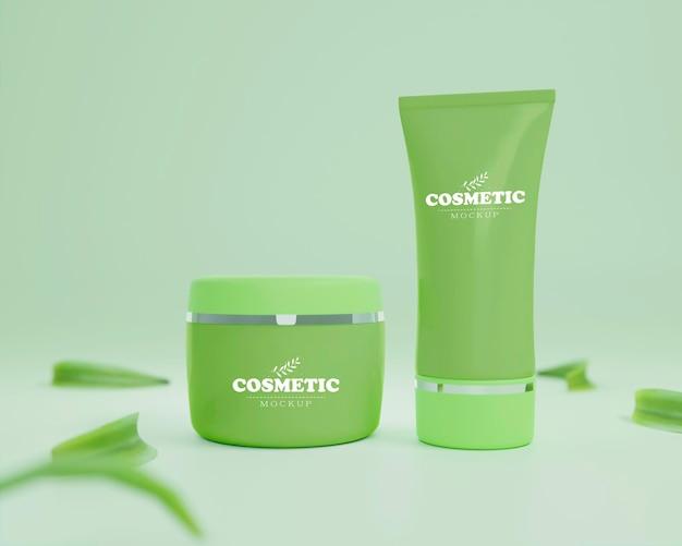 Asortyment produktów kosmetycznych makieta