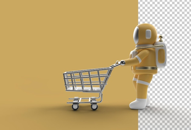 Astronauta 3d render z koszykiem przezroczysty plik psd