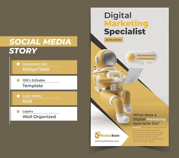 Astronauta digital marketing instagram stories szablon transparentu.