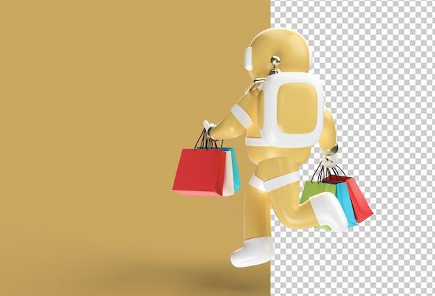 Astronauta renderowania 3d z torbami na zakupy