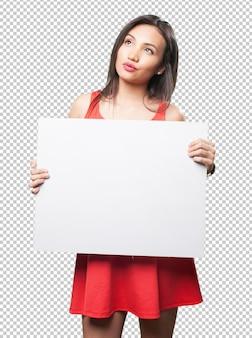 Azjatycka kobieta trzyma sztandar