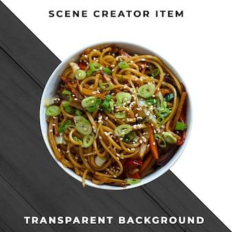 Azjatyckie jedzenie na talerzu przezroczyste psd