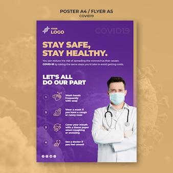 Bądź bezpieczny i zdrowy szablon plakatu covid-19