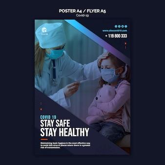 Bądź bezpieczny i zdrowy szablon plakatu