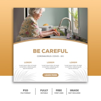 Bądź ostrożny szablon postów w mediach społecznościowych instagram, babcia myje warzywa