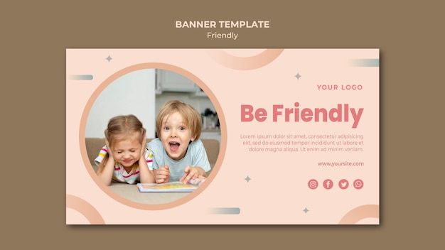 Bądź przyjazny szablon sieci web banner