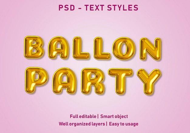 Ballon party efekty tekstowe w stylu edytowalny psd
