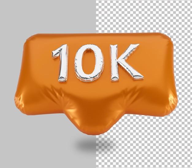 Balon celebracja 10k zwolenników renderowania 3d na białym tle