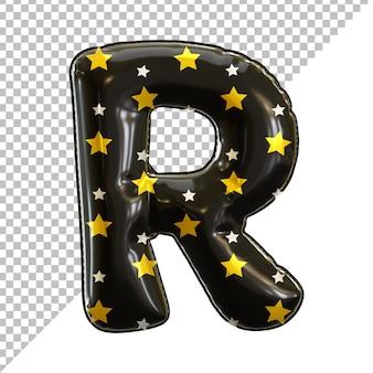 Balon foliowy alfabet litery r czarny na halloween