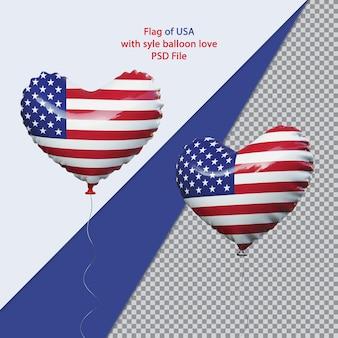 Balon miłość flaga narodowa usa realistyczna