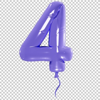 Balon w kształcie liczby cztery na białym tle ilustracja 3d