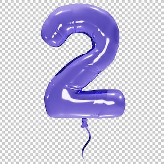 Balon w kształcie liczby dwa na białym tle ilustracji 3d