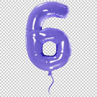 Balon w kształcie liczby sześć na białym tle ilustracji 3d