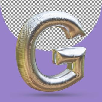 Balon ze srebrnej złotej folii realistycznej litery g 3d na białym tle