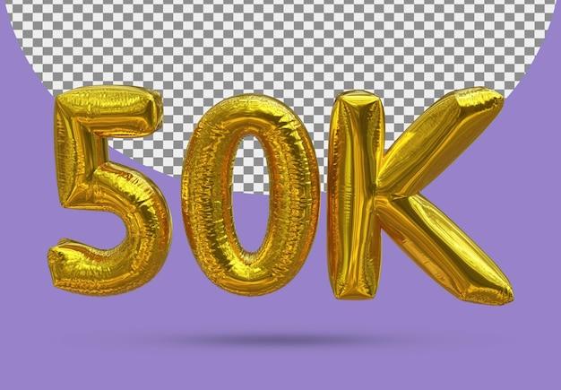 Balon ze złotej folii realistyczne 50k 3d na białym tle