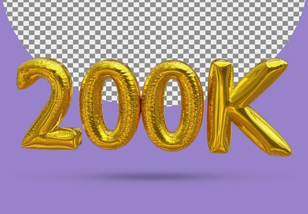 Balon ze złotej folii realistyczny 200k 3d na białym tle