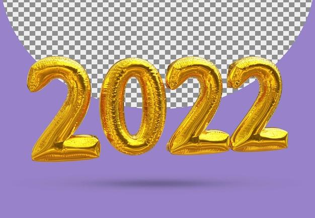 Balon ze złotej folii realistyczny 2022 3d na białym tle