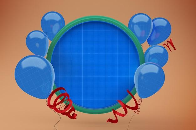 Balony na makieta ramki koła
