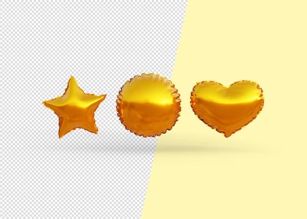 Balony w kształcie złota na białym tle