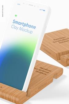 Bambusowe uchwyty na smartfony makieta, zbliżenie