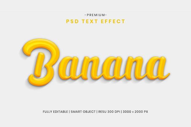 Bananowy edytowalny efekt tekstowy 3d psd